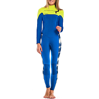 Glidesoul FULL WETSUIT 5MM CHEST ZIP T&D Print/Blue/Lemon