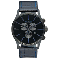 Nixon SENTRY CHRONO LEATHER NAVY GATOR