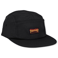 THRASHER FLAME LOGO 5-PANEL HAT BLACK