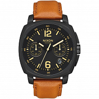 Nixon CHARGER CHRONO LEATHER All Black/Light Brown