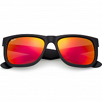 Ray Ban Justin RUBBER BLACK/BROWN MIRROR ORANGE