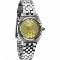 Nixon Small Time Teller SILVER/NEON YELLOW/BEETLEP