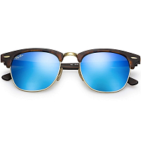 Ray Ban CLUBMASTER SAND HAVANA/GOLD/GREY MIRROR BLUE