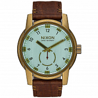 Nixon PATRIOT LEATHER BRASS/GREEN CRYSTAL/BROWN