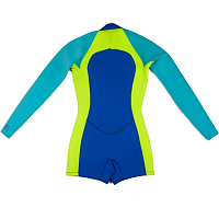 Glidesoul SPRING SUIT 2 MM WITH SHORTS FRONT ZIP Royal Blue/Lemon/Blue