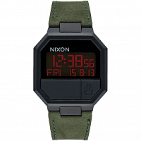 Nixon RE-RUN LEATHER ALL BLACK/GREEN