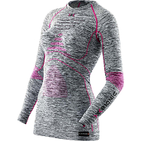 X-Bionic EVO Melange UW Shirt Lg_sl. Round Neck Light Grey Melange/Raspberry