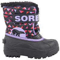 SOREL CHILDRENS SNOW COMMANDER PRINT Black, Paisley Purple