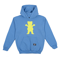 Grizzly OG BEAR YOUTH PULLOVER HOODIE Baby Blue / Neon Yellow