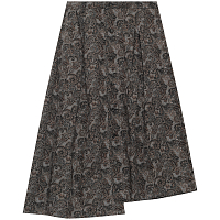 ENGINEERED GARMENTS TUCK SKIRT BLACK/BROWN COTTON PAISLEY PRINT