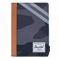 Herschel RAYNOR PASSPORT HOLDER RFID NIGHT CAMO/SYNTHETIC LEATHER STRIPE GREY/BLACK