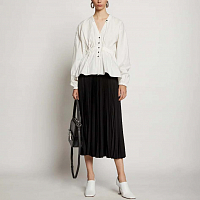 PROENZA SCHOULER WHITE LABLE PRINTED PLEATED LONG SKIRT BLACK