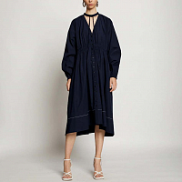 PROENZA SCHOULER WHITE LABLE COTTON SHIRTING SHIRT DRESS MIDNIGHT