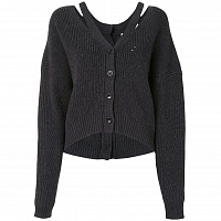 Proenza Schouler White Label Knit Cardigan W/ Button Back Charcoal