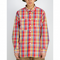 ENGINEERED GARMENTS WORK SHIRT RED PLAID COTTON BROADCLOTH