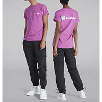 BERGHAUS HERITAGE FRONT AND BACK LOGO TEE PURPLE ORCHID