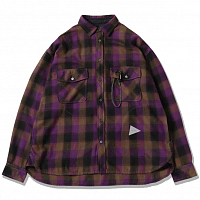 And Wander Thermonel Check Shirts PURPLE