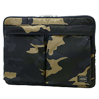 PORTER YOSHIDA COUNTER SHADE DOCUMENT CASE WOODLAND KHAKI