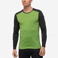 NORRONA WOOL ROUND NECK BAMBOO GREEN/C