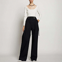 Proenza Schouler White Label Cotton Twill Belted Pant BLACK