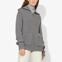 Proenza Schouler White Label Chunky RIB Mock Neck Half ZIP Cardigan GREY MOULINE