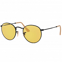 Ray Ban ROUND METAL MATTE BLACK/PHOTO YELLOW