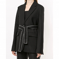 Proenza Schouler White Label Stretch Suiting Relaxed TIE Blazer BLACK
