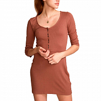 RVCA TWISTER RIB DRESS NUTMEG