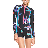 Glidesoul SPRING SUIT 1 MM WITH SHORTS REVERSIBLE (FLATLOCK) OUTSIDE FLORAL PRINT/L.BLUE, INSIDE BLACK/VIOLET